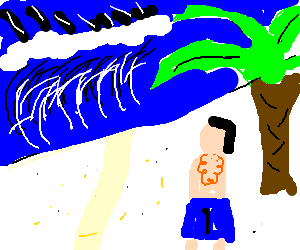 Guy in a suit standing in front of hawaii wave