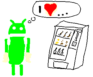 Android mascot loves color vending machine