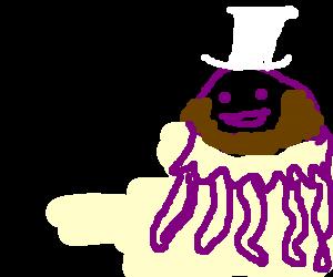 Bearded purple jellyfish happy to wear white hat