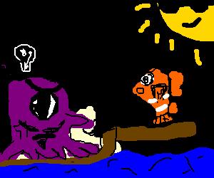 Bearded cyclops octopus wants Nemo to walk