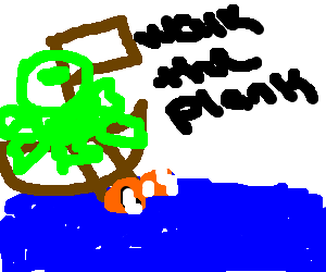 The kraken tells Nemo to walk the plank