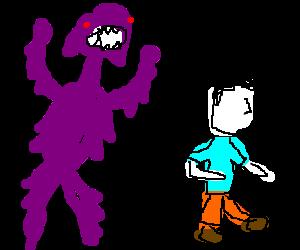 Purplse monster chases white faced man