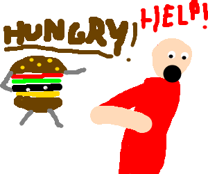 man being chased by malnourished hamburglar