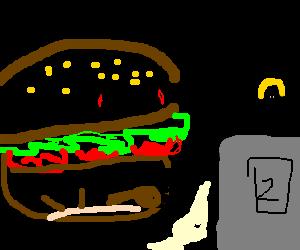 Hamburger robbing a bank