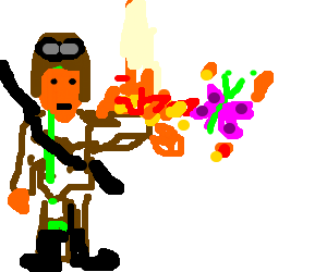 Soldier with flaming arm attacking butterfly