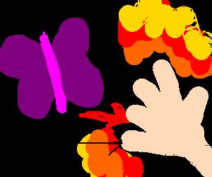 butterfly sets gijoe's hand on fire