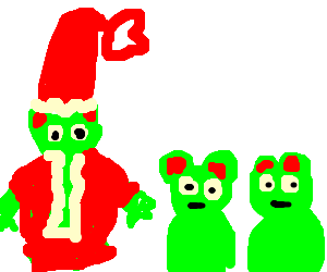 Santa Kermit with his two Christmas frog friends