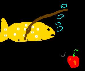 Cheesy Goldfish fishing for an apple