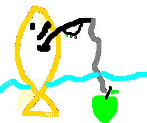 giant yellow fish is fishing an apple