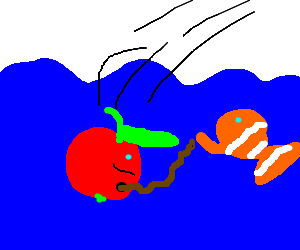 Apple is thrown underwater and meet a fish
