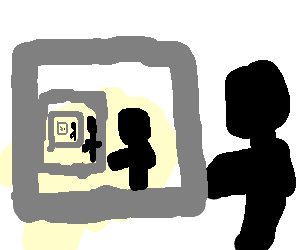 A guy playing Drawception.