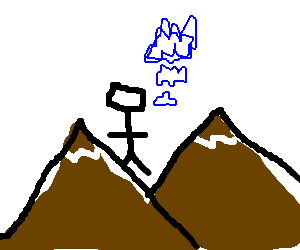 Man at mountains comes up with Inception