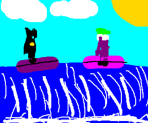 The batman and Joker surfing competition