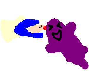 Clam kisses purple ghost, it tickles