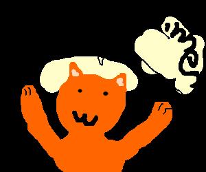 """I am ze winner!"" Says the orange cat."