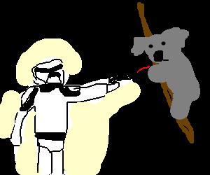 A stormtrooper kills a koala