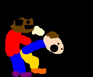 Red shirt guy raping blue shirt guy.