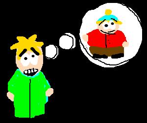 Butters in a green fleece, thinking of Cartman
