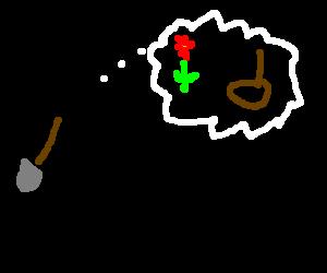 Stick man with spade dream flowers & suicide