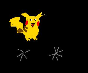 a pokemon on a bycicle