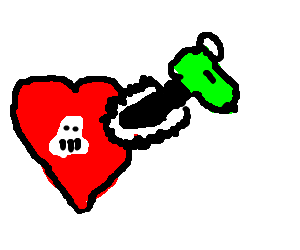 Chainsaw heart with a skull on it