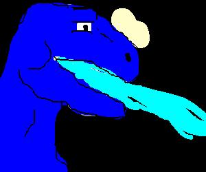blue raptor projectile vomits blue slime