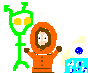 An alien and Kenny find a crystal eye on ice