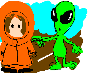 OMG! An alien's gonna kill Kenny! That bastards!