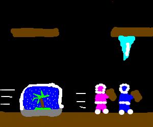 Ice Climber runs from weird snowglobe