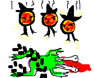 Three pizza-witches falling on a squished toad