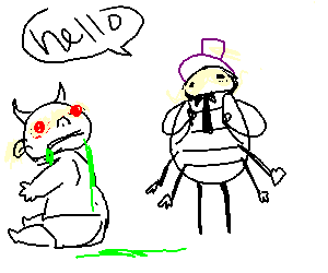 bug man with purple hat talks to possessed baby
