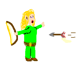 elf blonde is shot by arrow(oh the irony?)