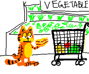 Garfield does the groceries