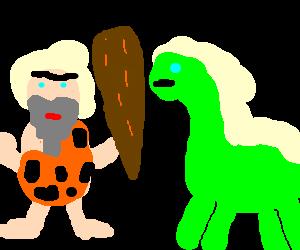 caveman comes across a dinosaur