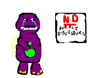 Barney the dinosaur is refused service