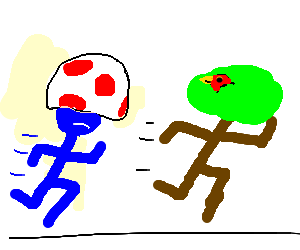 Mushroom-headed blue man chases sprinting tree.