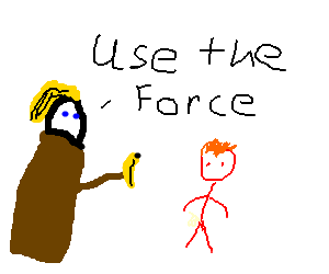 Blonde female jedi give bananas to ginger dwarf