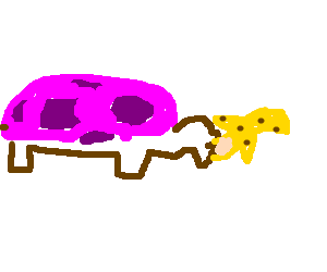 Pink turtle eating a banana