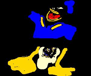 Donald Duck is happy despite censored genitals