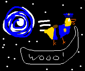police duck coming from wormhole shouting woo!
