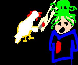 Chicken stabs man in octopus hat