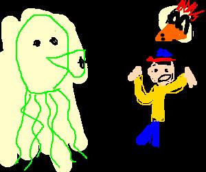 Giant green squid attacks boy, chicken watches.