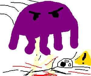 Purple Ctulthu squashes surprised purple man