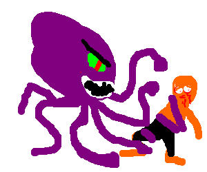 Purple Cthulhu head totally fucks up some guy
