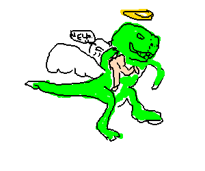 Angel dino abducts naked screaming woman