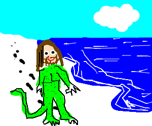 Lizard with Jesus head strolls along happily
