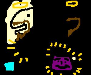Dino Jesus turns water into grape Kool-Aid