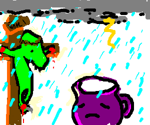 Raptor jesus makes it rain on Purple Koolaid man