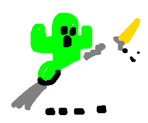 Cactuar riding unicorn thing with mane