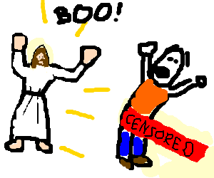 Jesus scares someone with giant pole